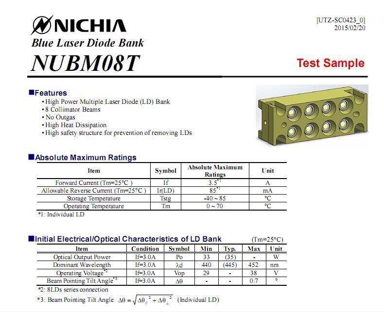 Nichia Nubm08 445nm 38w Multi Ld Bank Blue Laser Diode