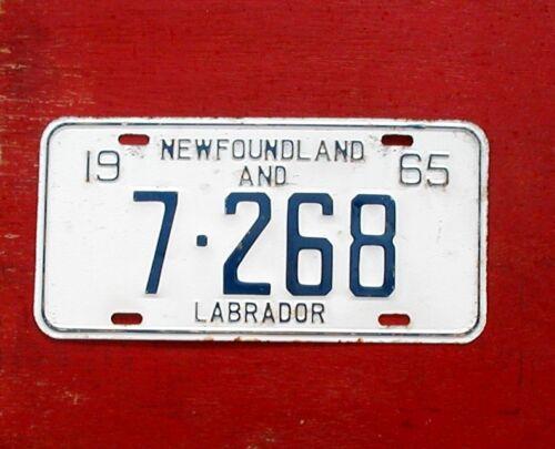 1965 Newfoundland Labrador Nice Original  7-268  License Plate