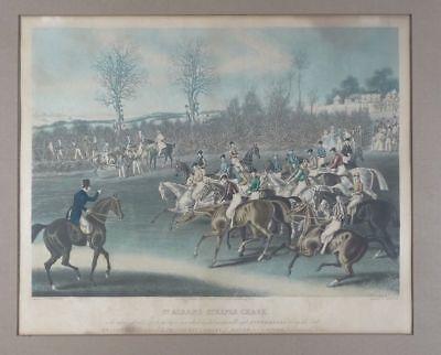 Pferde Hindernisrennen - Reeves - kol. Aquatinta - Sport Pferderennen - 19. Jhd