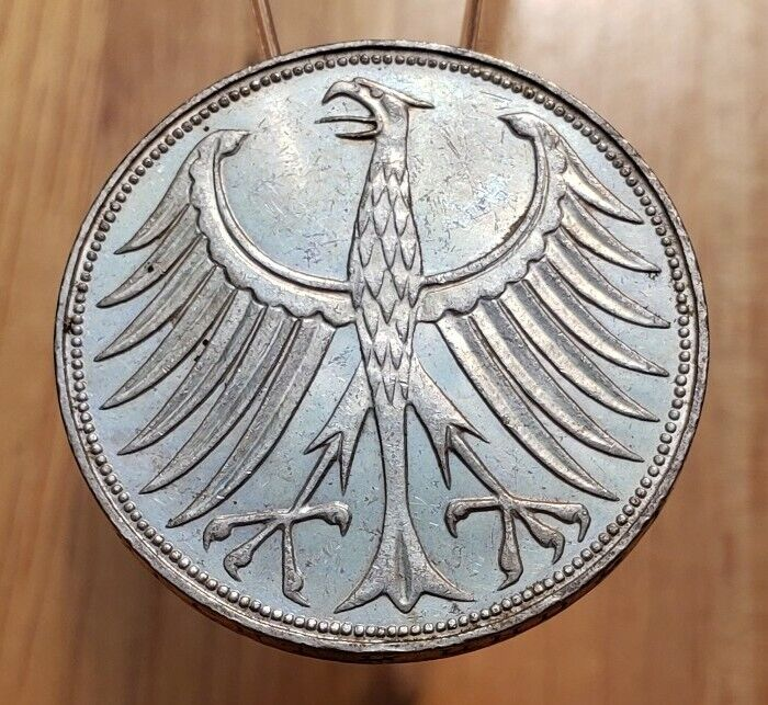 1960-F Germany - Federal Republic 5 MARK  WORLD SILVER COIN