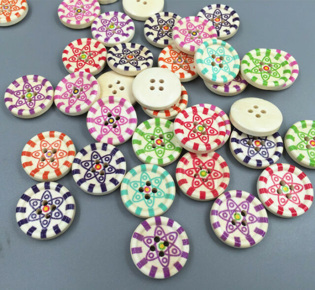 Diy 20pcs 4 hole round wood buttons fit sewing scrapbook for Decorative buttons for crafts