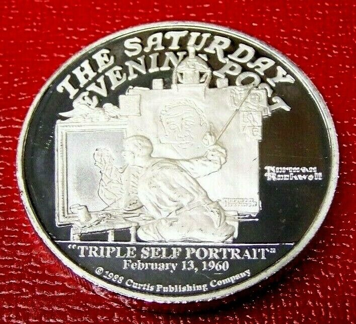 Triple Self Portrait Saturday Evening Post Art Round 2 Troy Oz .999 Silver - $75.88