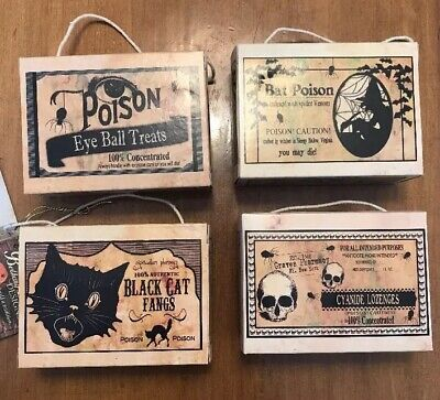 Bethany Lowe Halloween Poison Candy Boxes—retired