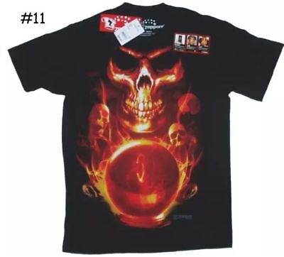 Skull Tee T-shirt Black Scary Looking Halloween? Skull's Flames Mens Top - Halloween Looks For Men