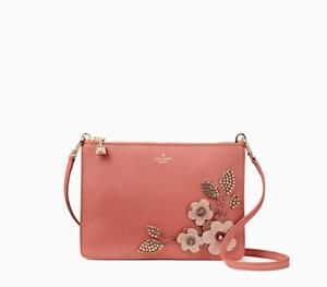 c77a16079af9b Kate Spade on Purpose Floral Crystals Embellished Pink Leather Slim ...