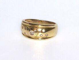 STUNNINGLY GORGEOUS 9CT SOLID GOLD RETRO DIAMOND RING MADE ENG HALLMARKED SIZE M .25CT DIAMONDS J4U