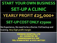 Make £2000 p.Month. Setup your own business in Chinese Medicine, Acupuncture, Hijama, Massage, Herbs