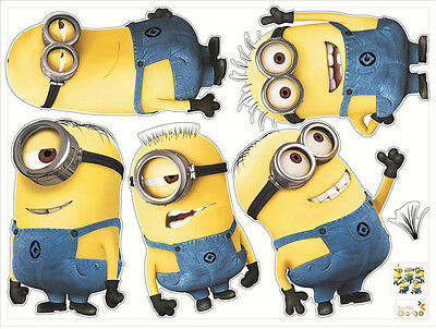 5 Minions Despicable Me 2 Removable Wall Stickers Decal Kids
