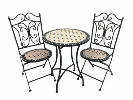 New French Provincial Metal Mosaic Outdoor 3 Pc Dining Setting Richmond Yarra Area Preview