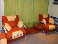 Sofa armchairs (2) Bellona Turkish furniture and coffee table (1)