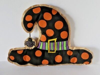 *SAMPLE SALE* HALLOWEEN BURLAP WITCHES HAT HANGING DECORATION 15