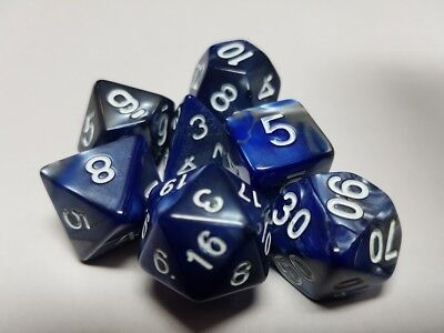 HD Dice Elemental 7 x Polyhedral dice Set Blue Steel with White D&D RPG