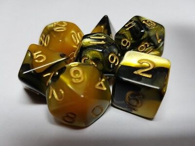 HD Dice Elemental 7 x Polyhedral dice Set Gold Black with Gold D&D RPG