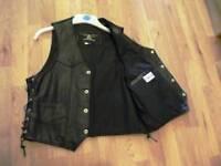 Men's Black Cowhide Leather Waistcoat