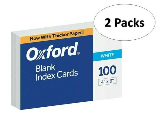 "Oxford 40 4"" x 6"" Blank Index Cards - White, 100/Pack, 2 Pack"