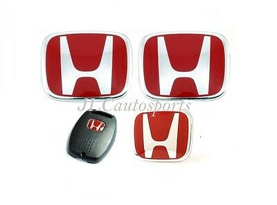 4PCS Front+Rear+Steering Wheel Red H Emblem+Key For 06-07 HONDA Accord Sedan 4DR
