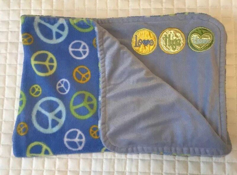 Bean Sprout Peace Sign Blue Baby Blanket Love Hugs Kisses Fleece EUC