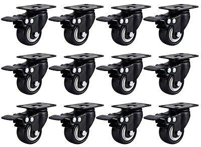 12 Pack Swivel Plate Casters 1.5 Polyurethane Wheels Total Lock Brake Black