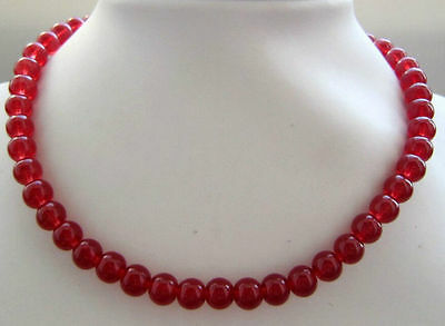 10mm Natural Red jade Round Beads Necklace 18