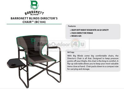 BC104 NEW Barronett Blinds DIRECTORS CHAIR W/ TABLE Ground Blind Hunting Chair for sale  Cumberland