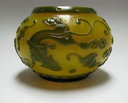 Chinese Dragon Green Yellow Carved Peking Overlay Glass Ink Well / Jar / Bowl