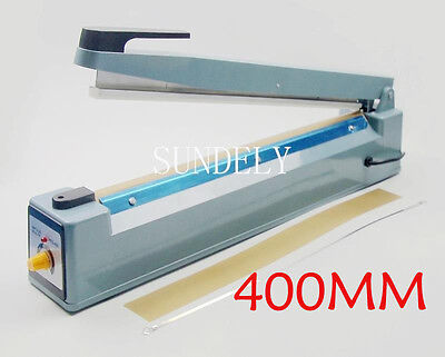 UK Impulse Heat Sealer Sealing 400mm PP Plastic Bags + Spare Element & Teflon