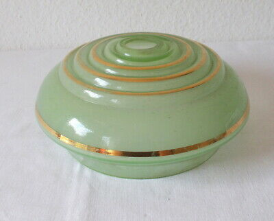 Art Deko Lampenschirm aus hellgrünem Glas, ca. 20 cm