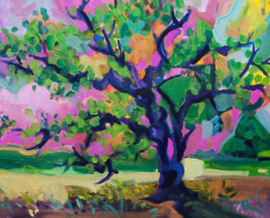 Semi-abstract sweet color sky and tree of life style oil paintin