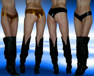 Damen Wetlook, Lackleder Hotpants, Metallic, Slip, Schwarz od. Gold, Gr. S/ M ()