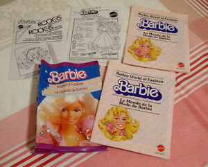 Lot de manuels d'instructions et pamphlets Barbie 80s