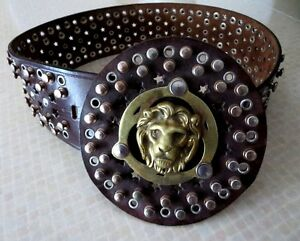 Incredible Studded Belt With Lion's Face !