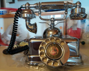 Vintage Chrome Rotary Dial Telephone
