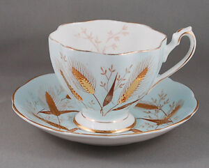 Queen Anne Soft Blue w/ Gold Embossed Wheat Pattern Teacup Set