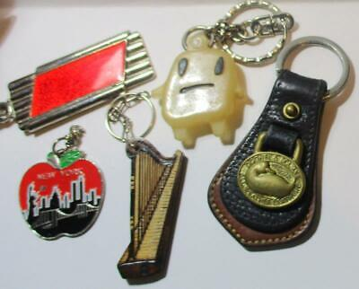 Lot of 5 Vintage Key Rings, Wood Carved, Chevy, New York, Dooney Burke