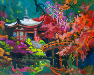 colorful tree Japanese house in a asian garden