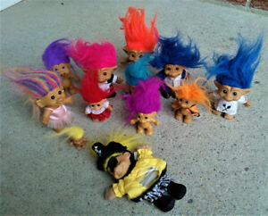 Lot of Twelve (12) Plastic Toy Trolls