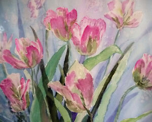 """Summer Flowers by M. Knox """"Pretty in Pink"""" Watercolor, 1970 Stratford Kitchener Area image 3"""