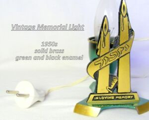 "Vintage Memorial Light,  ""In Loving Memory"", Israel, brass"