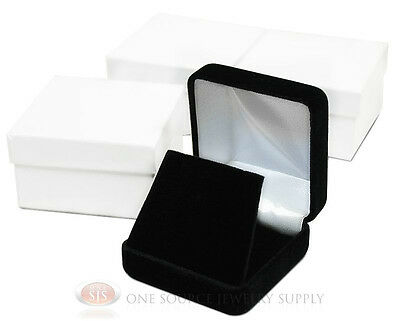 3 Piece Black Velvet Earring Pendant Jewelry Gift Boxes 2 58 X 2 58 X 1 38