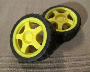 Pair of Small Car Model Plastic Robot Tire Wheels (NEW)