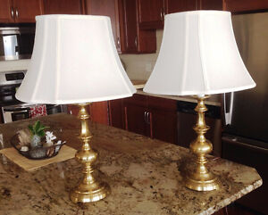 LAMPS - two brass lamps with shades
