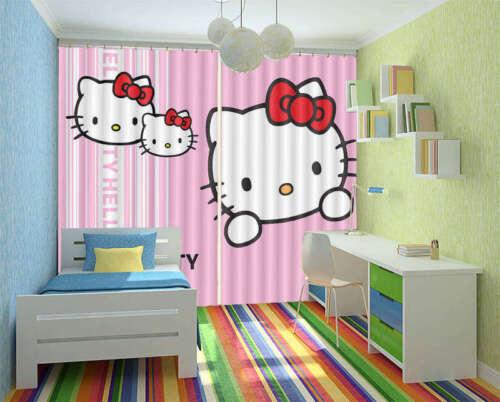 Ciao Kitty Famiglia 3D Tenda Bloccare Foto Stampa Tendaggio Drappo Tessuto Fines
