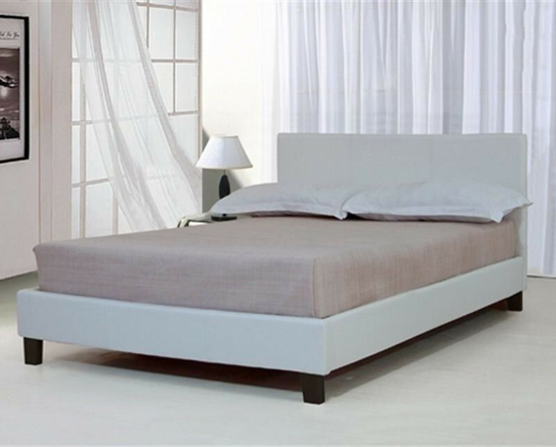 4 Foot Double Bed Frame White Leather Look New In The Box In