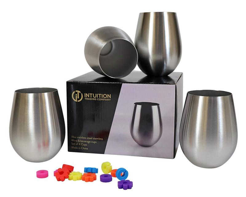 Stainless Steel Stemless Wine Glasses 18oz Set of 4 Elegant /& Unbreakable