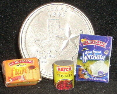 - Kitchen Pantry #10 Mexican Horchata Flan Mix Tex-Mex Tomatoes 1:12 Miniature