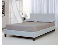 BRAND NEW LEATHER DOUBLE BED WITH MATTRESS