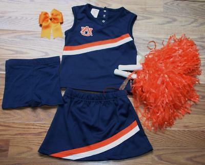 AUBURN TIGERS CHEERLEADER COSTUME OUTFIT HALLOWEEN CHEER SET POM POMS BOW 3T](Tiger Halloween Costume 3t)