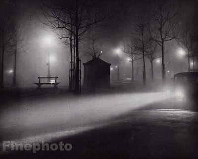 1934/68 Vintage BRASSAI Paris Street FOGGY NIGHT Cityscape France Photo Art 8x10