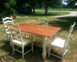 Solid Wood Harvest Table with 4 Chairs