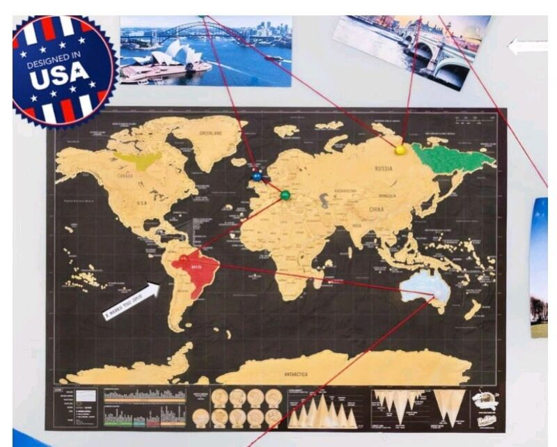 NEW Premium Large Travel Scratch Off World Map Poster